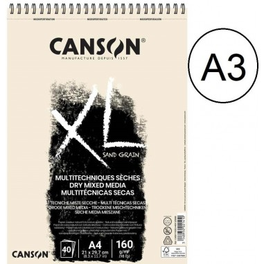BLOC CANSON XL TOUCH ARENOSO 40H A3 BLANCO